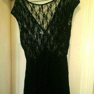 Sheer goth  lace layered flowing dress its